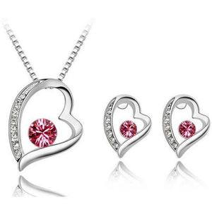 Precious Heart Necklace and Earring set - Pink - Clarissa Maxwell
