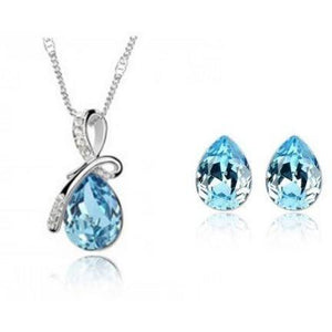 Princess Bow Necklace and Earring Set - Blue - Clarissa Maxwell