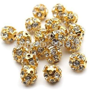 Rhinestone Gold Sphere - 8mm - Spacer - Clarissa Maxwell