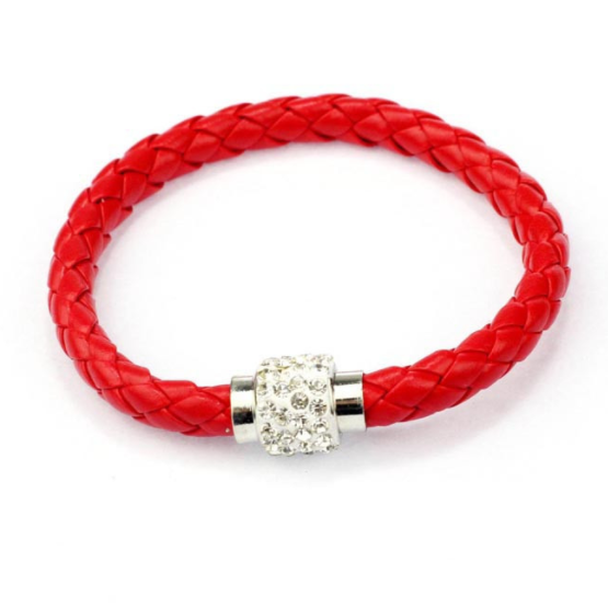 Rhinestone leather bracelet - Red - Clarissa Maxwell
