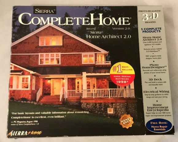 Sierra Complete Home PC CD-Rom Windows 1998 Architect Software PC Big Box - New - Clarissa Maxwell