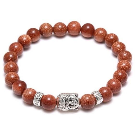 Silver Buddha Gold Sand Bead Bracelet - 2 charms - Clarissa Maxwell