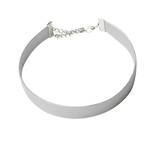 Silver Leather Choker - Clarissa Maxwell