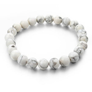 Simple Collection - White Howlite Beaded Bracelet -10 mm beads - Clarissa Maxwell