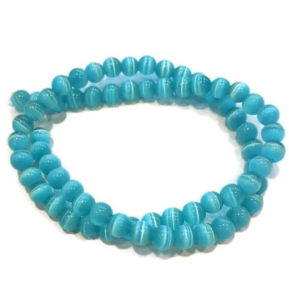 Teal Cats Eye Bead Custom Bracelet - 8 mm - Clarissa Maxwell