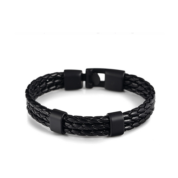 Triple Braided Leather Bracelet -Black on black - Clarissa Maxwell