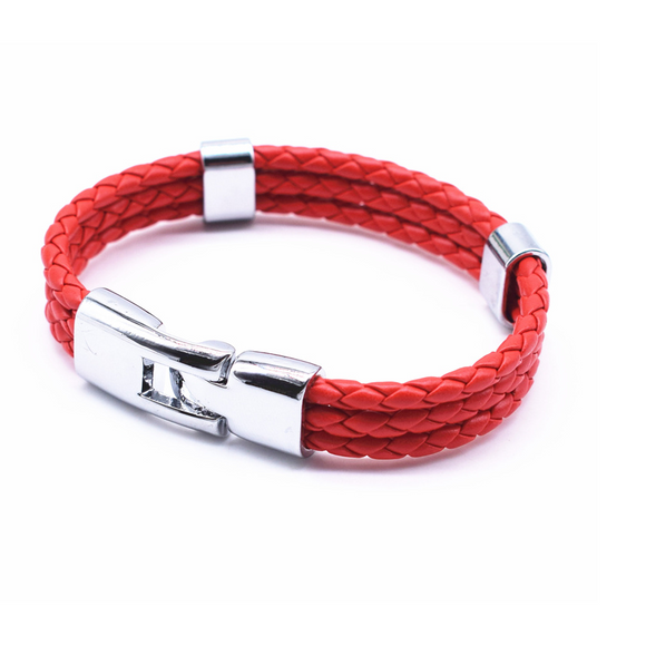 Triple Braided Leather Bracelet - Red - Clarissa Maxwell