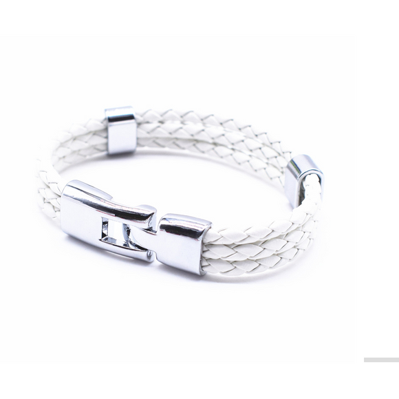 Triple Braided Leather Bracelet -White - Clarissa Maxwell