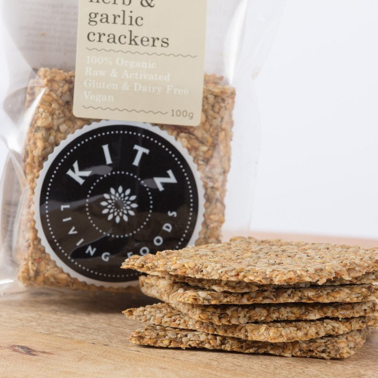 Kitz Living Foods - Italian Herb & Garlic Crackers - 100g - Everybody Loves Hampers - eco friendly gifts, sustainable gifts, earth friendly gifts, environmentally friendly gifts