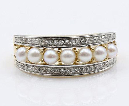 PEARL AND DIAMOND RING 14K TWO TONE