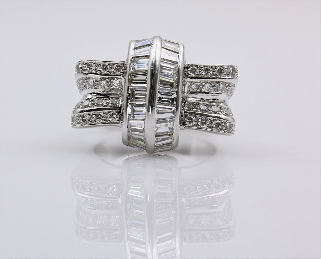 DIAMOND RING ART DECO 18K WHITE GOLD