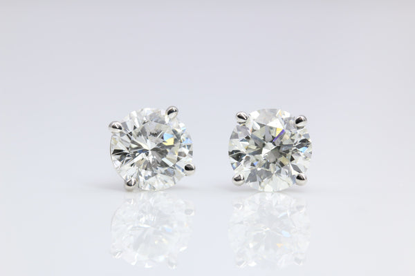 DIAMOND STUD EARRINGS 3.35 CTW. 14K WHITE GOLD
