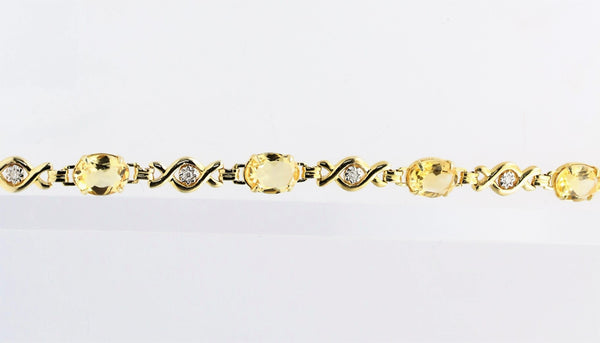 TOPAZ AND DIAMOND YELLOW GOLD BRACELET