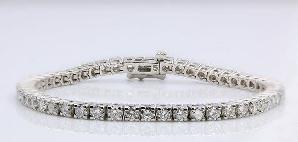 DIAMOND TENNIS BRACELET FOUR PRONG 14K WHITE GOLD