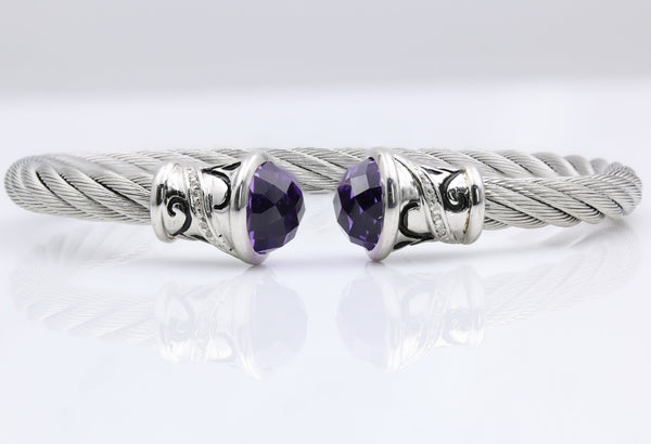 STERLING SILVER AND STAINLESS AMETHYST AND DIAMOND FLEX BANGLE BRACELET