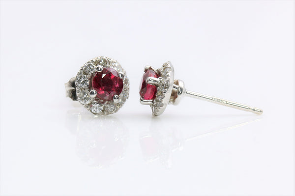 RUBY/DIAMOND HALO EARRINGS 14K WHITE GOLD