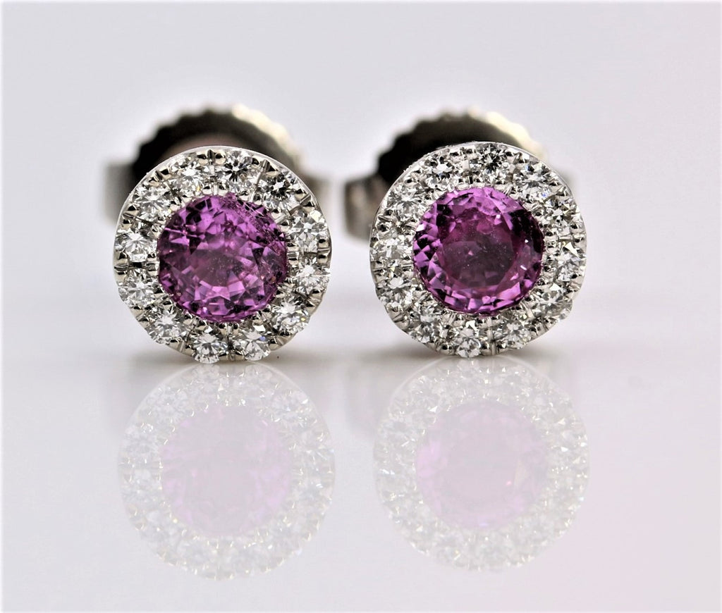 PINK SAPPHIRE/DIAMOND HALO EARRINGS 14K WHITE GOLD