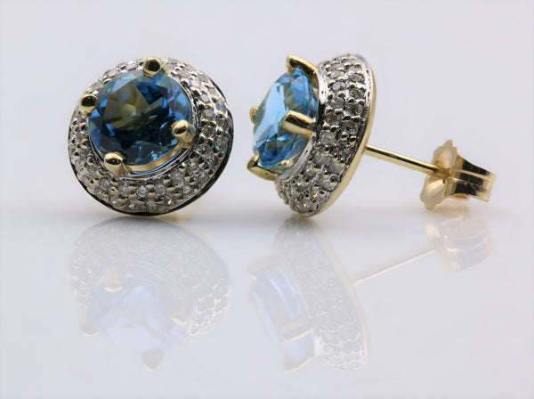 BLUE TOPAZ/DIAMOND HALO EARRINGS 14K TWO TONE