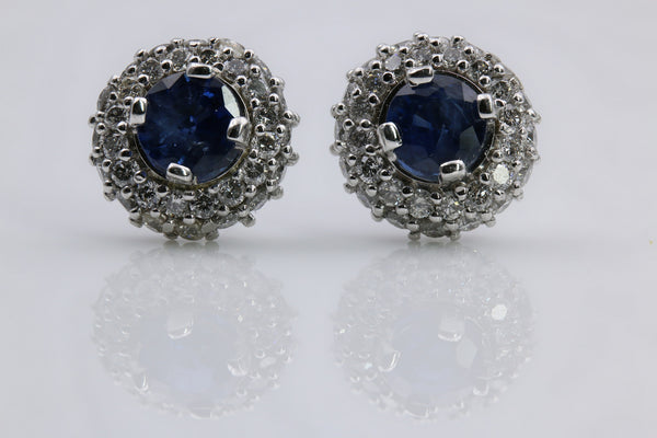 SAPPHIRE/DIAMOND HALO EARRINGS 14K WHITE GOLD