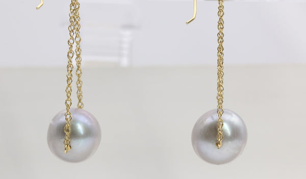 PEARL DROP EARRINGS 14K YELLOW GOLD
