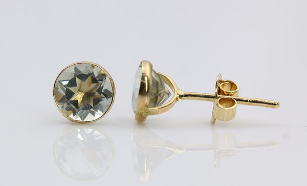 BLUE TOPAZ STUD EARRINGS 14K YELLOW GOLD