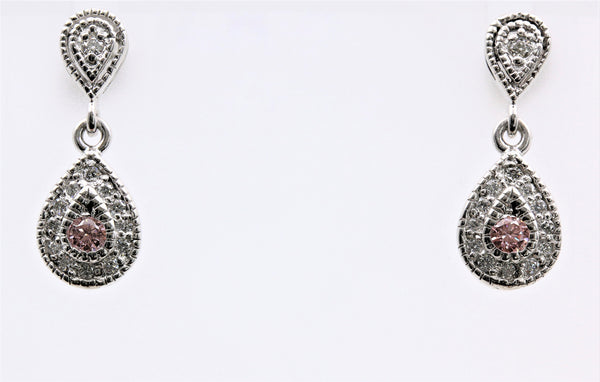 PINK DIAMOND DANGLE EARRINGS 14K WHITE GOLD