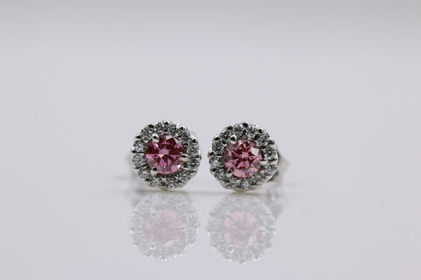 PINK DIAMOND HALO EARRINGS 14K WHITE GOLD