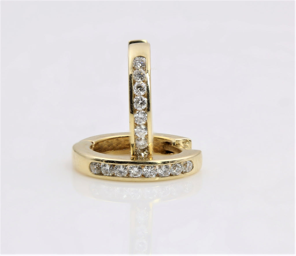 DIAMOND HUGGY EARRINGS 14K YELLOW GOLD