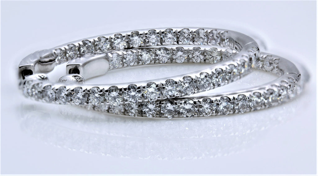 DIAMOND INSIDE/OUTSIDE HOOP EARRINGS 14K WHITE GOLD