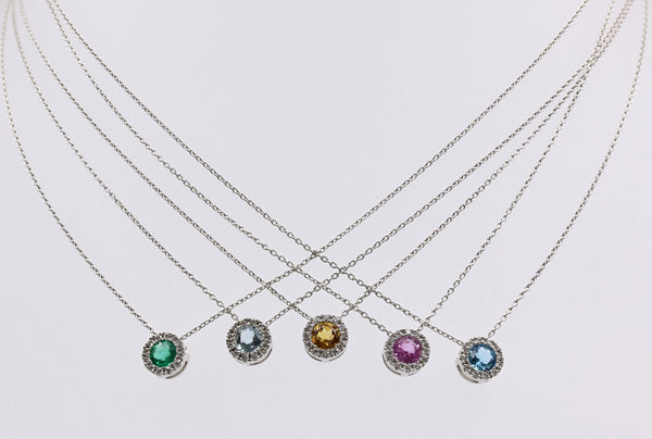 DIAMOND HALO PENDANTS WITH PRECIOUS/SEMI PRECIOUS 14K WG
