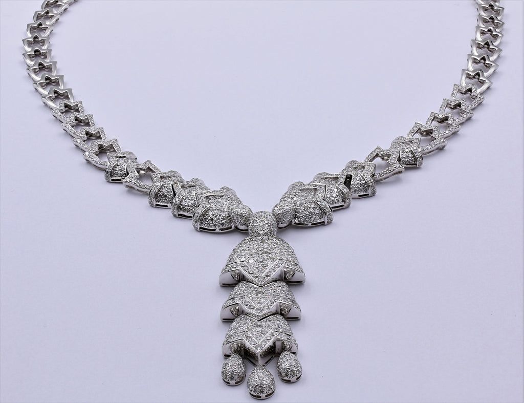DIAMOND NECKLACE HAND MADE 18K WHITE GOLD