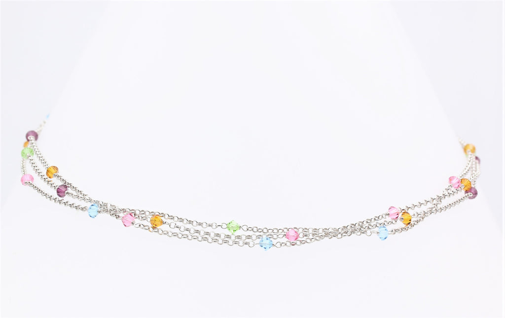 SEMI PRECIOUS TRIPLE CHAIN NECKLACE 18K WHITE GOLD