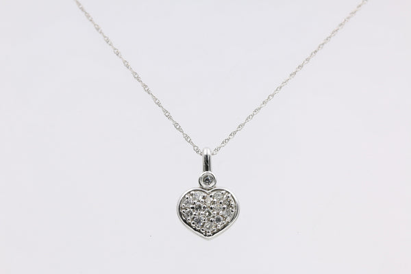 DIAMOND HEART PENDANT 14K WHITE GOLD