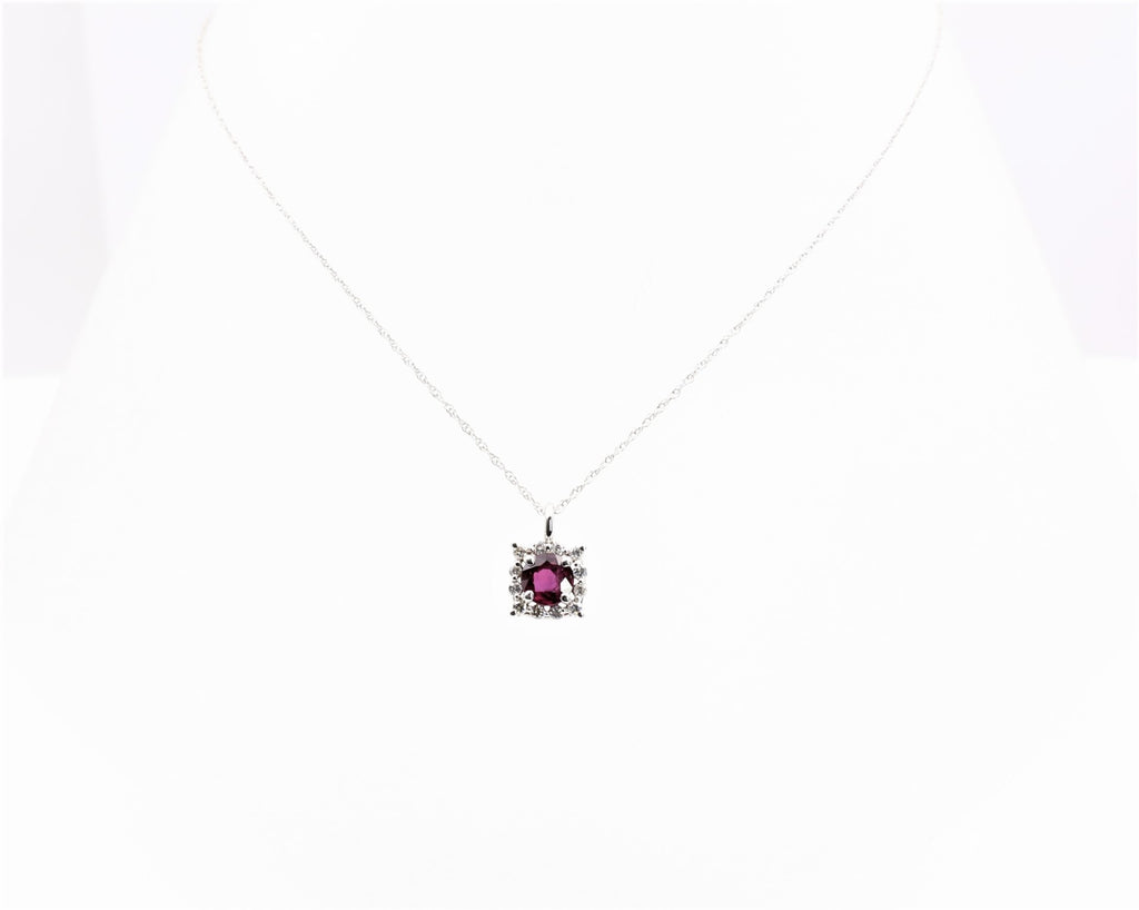 RUBY/DIAMOND PENDANT 14K WHITE GOLD