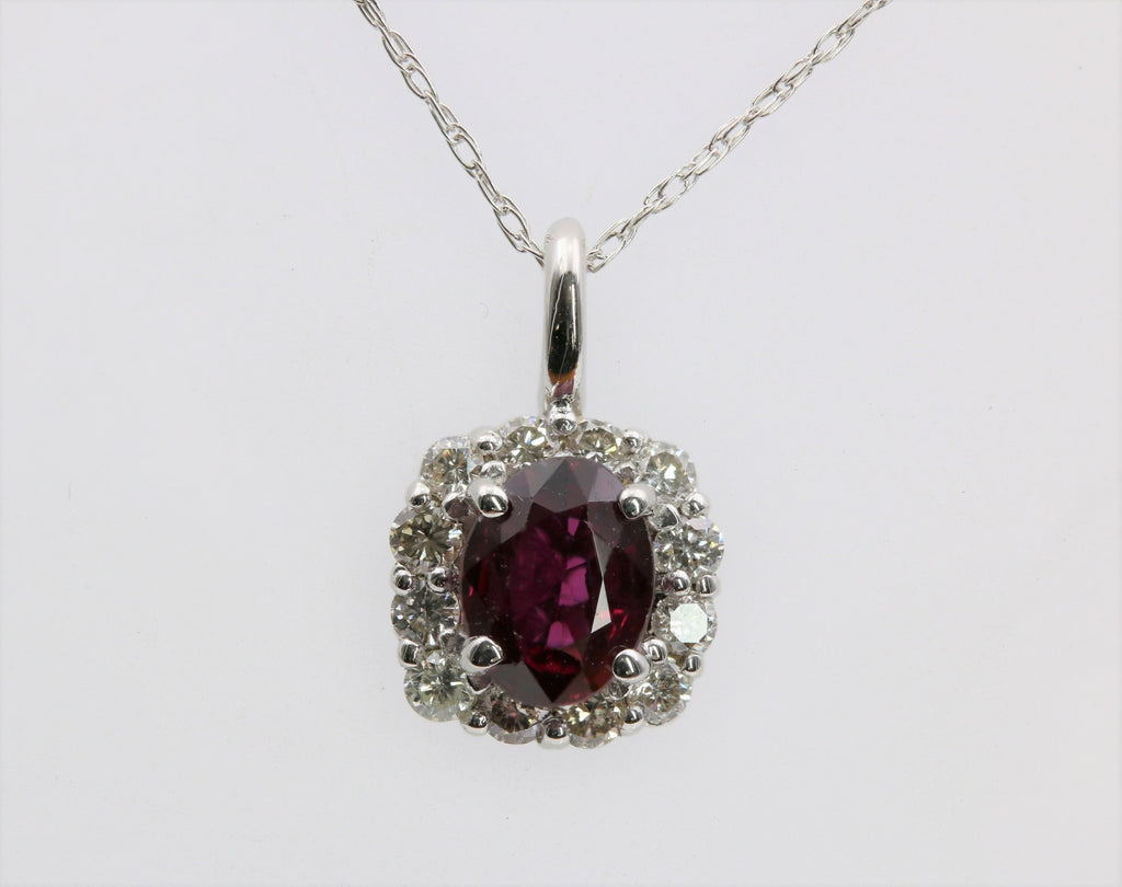 RUBY AND DIAMOND PENDANT 14K WHITE GOLD