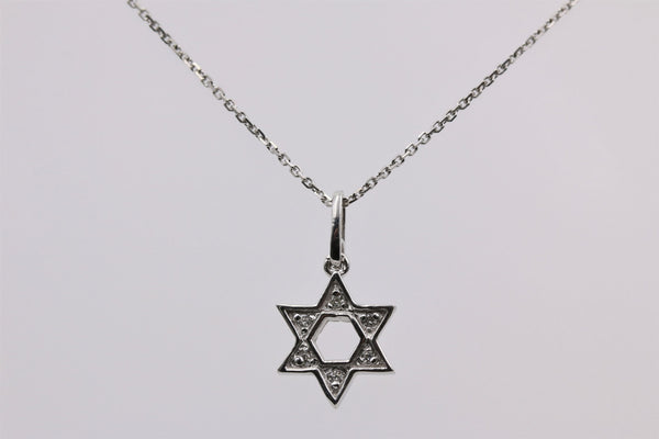 DIAMOND PENDANT STAR OF DAVIDIN 14K WHITE GOLD
