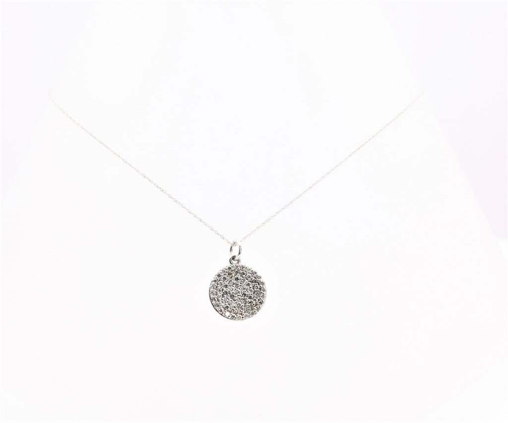 DIAMOND ROUND PENDANT 14K WHITE GOLD
