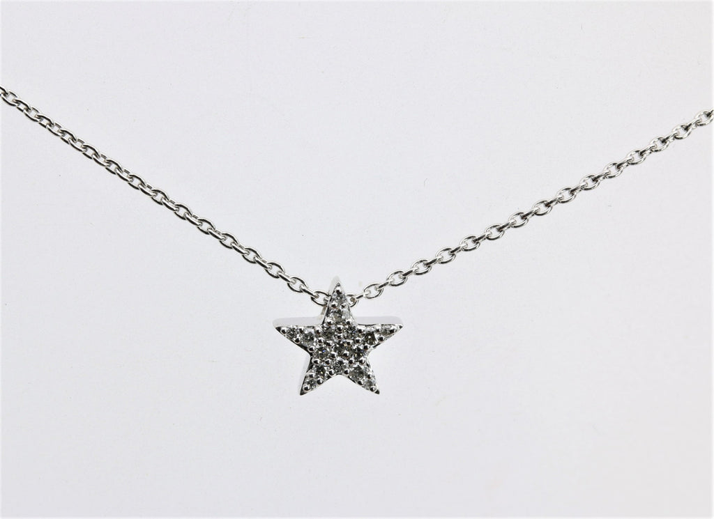 DIAMOND STAR PENDANT 14K WHITE GOLD