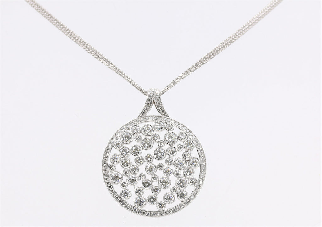 DIAMOND PENDANT BEADED 14K WHITE GOLD