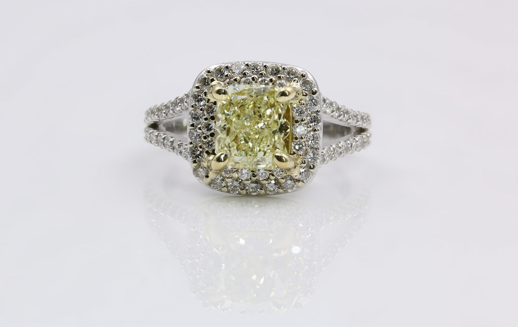 DIAMOND RING FANCY YELLOW 14K WG/18K YG