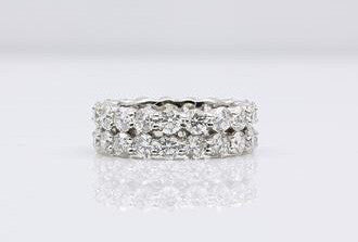 DIAMOND ETERNITY RING DOUBLE ROW 14K WHITE GOLD