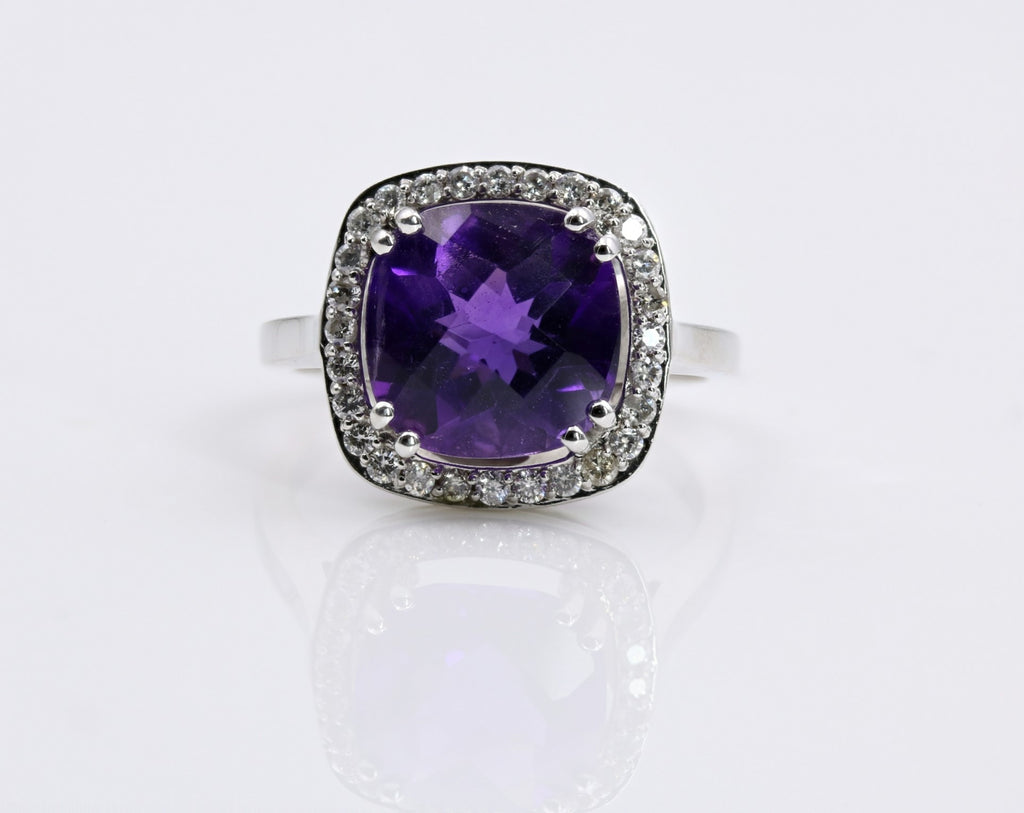 AMETHYST/DIAMOND HALO RING 14K WHITE GOLD