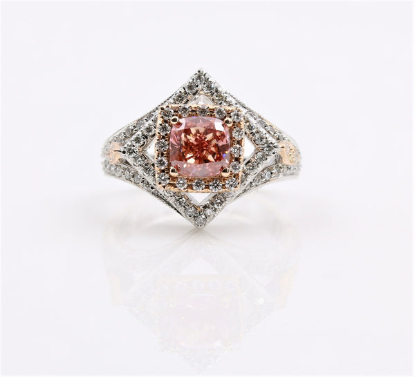 PINK DIAMOND HALO RING 14K TWO TONE