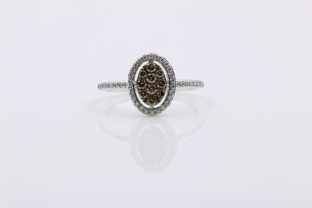 DIAMOND PAVE SET RING, 14K WHITE GOLD