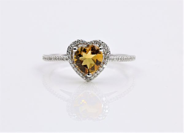 CITRINE HALO DIAMOND RING 14K WHITE GOLD