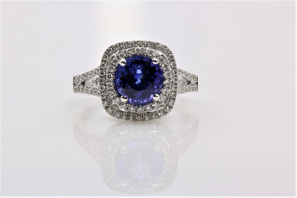 Tanzanite and Diamond double halo ring in 14k white gold