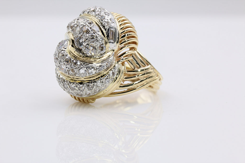 DIAMOND CUSTOM DOME RING 14K YELLOW GOLD