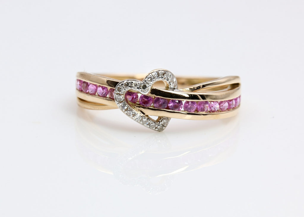 PINK SAPPHIRE AND DIAMOND HEART RING  14K YELLOW GOLD