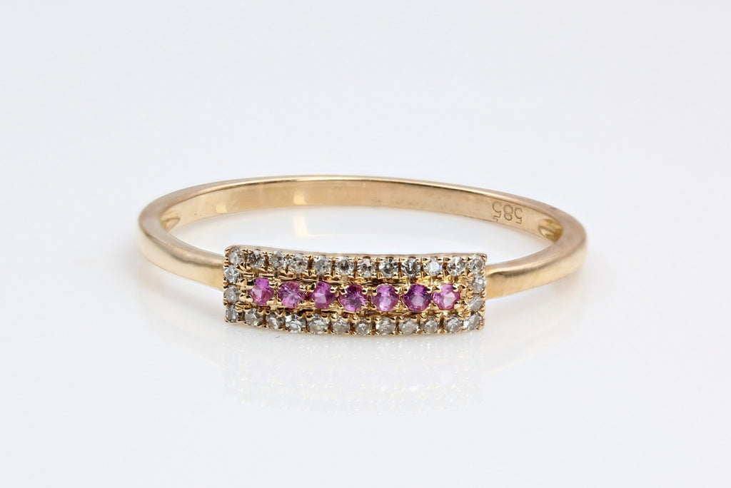 PINK SAPPHIRE AND DIAMOND RING 14K YELLOW GOLD