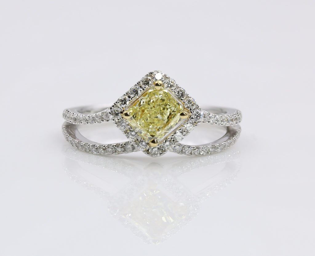 DIAMOND RING FANCY YELLOW 18K WHITE GOLD